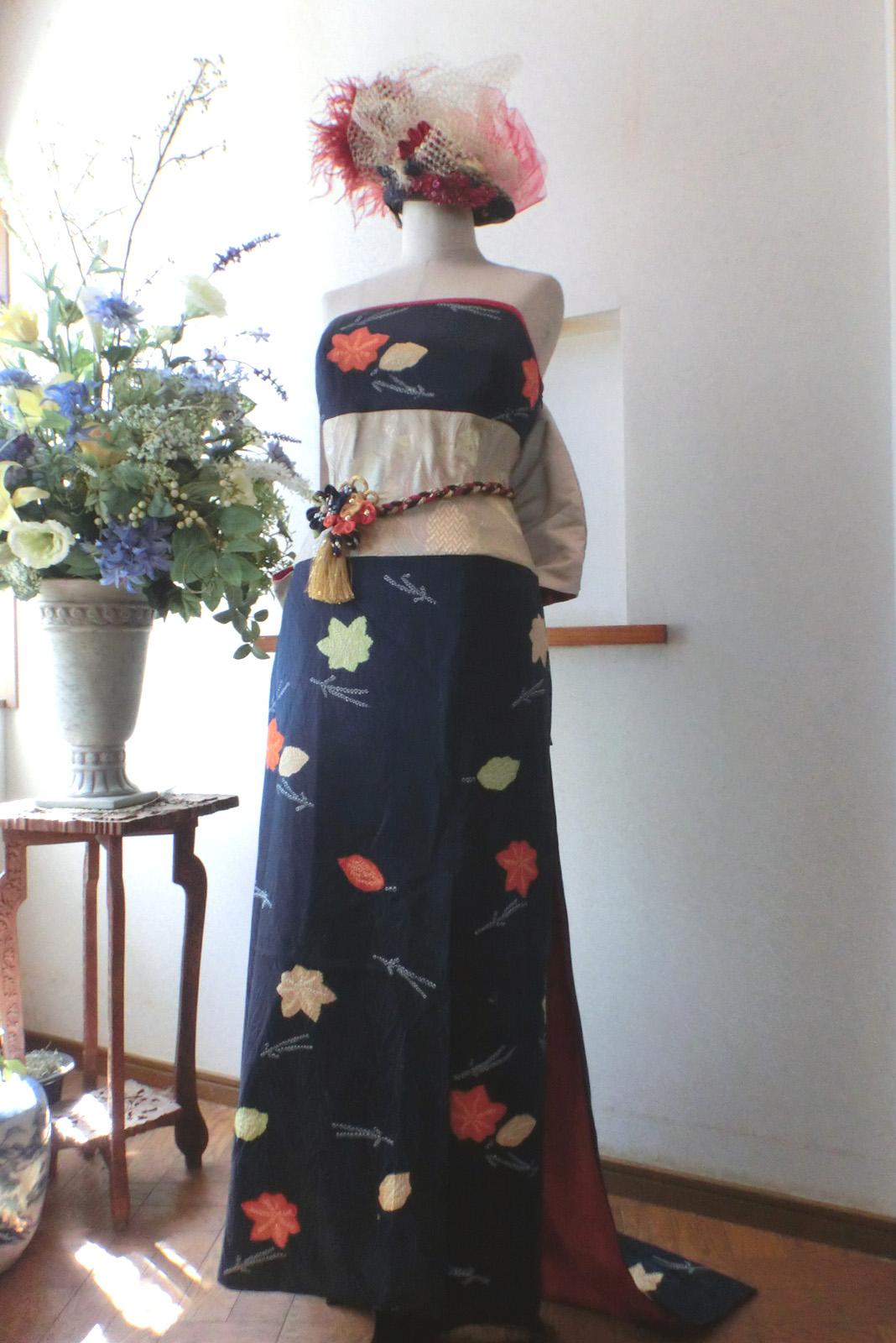 華やかな着物リメイクドレス
